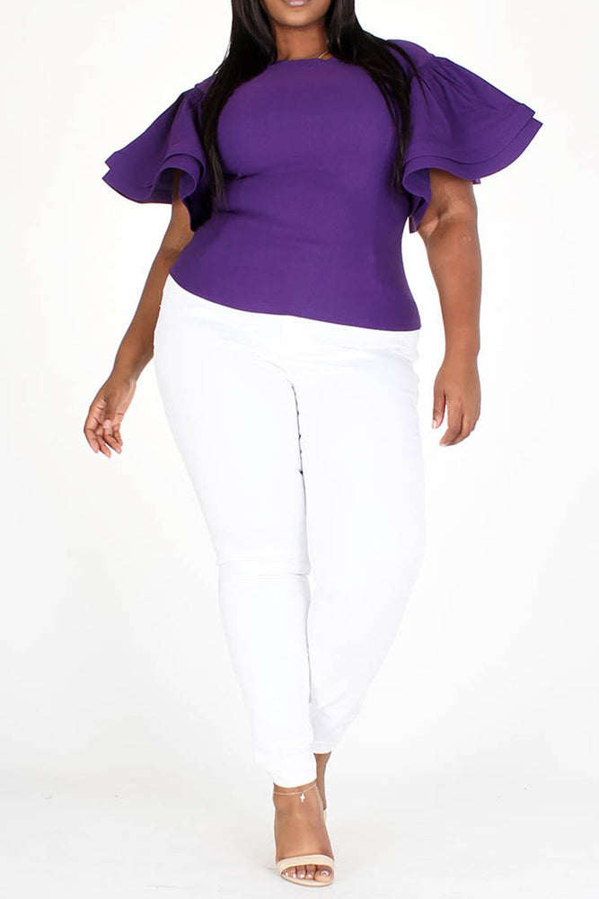 Charmile Ruffle Sleeve Top - Purple