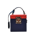 Rivera Leather Box Bag - Blue/Red