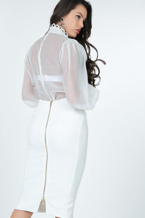 Load image into Gallery viewer, Calari Sheer Long Sleeve Blouse - White - Chrestelle