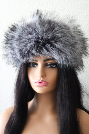 Load image into Gallery viewer, Luxury Faux Fur Headband - Grey