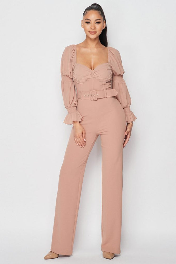 Abies Sweetheart Belted Jumpsuit