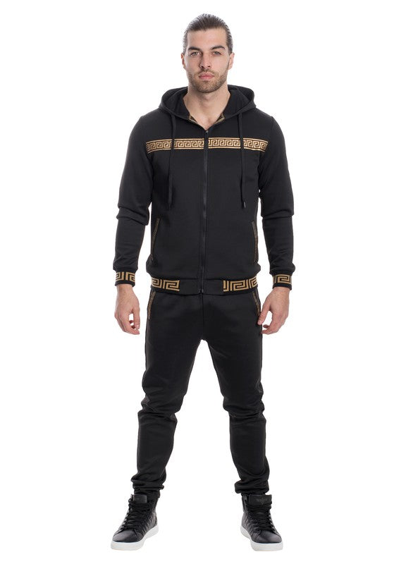 Contrast Taped Two-piece Full-Zip Hoodie - Black
