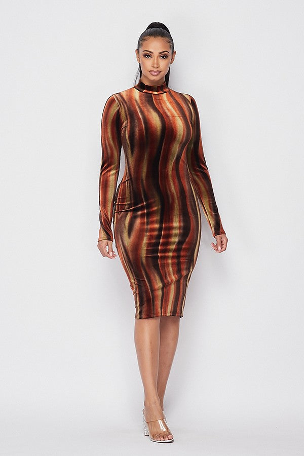 Adeline Velvet Midi Dress - Rust