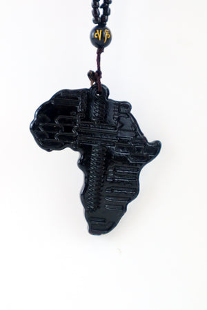 Load image into Gallery viewer, Africa Map Necklace - Black - Chrestelle