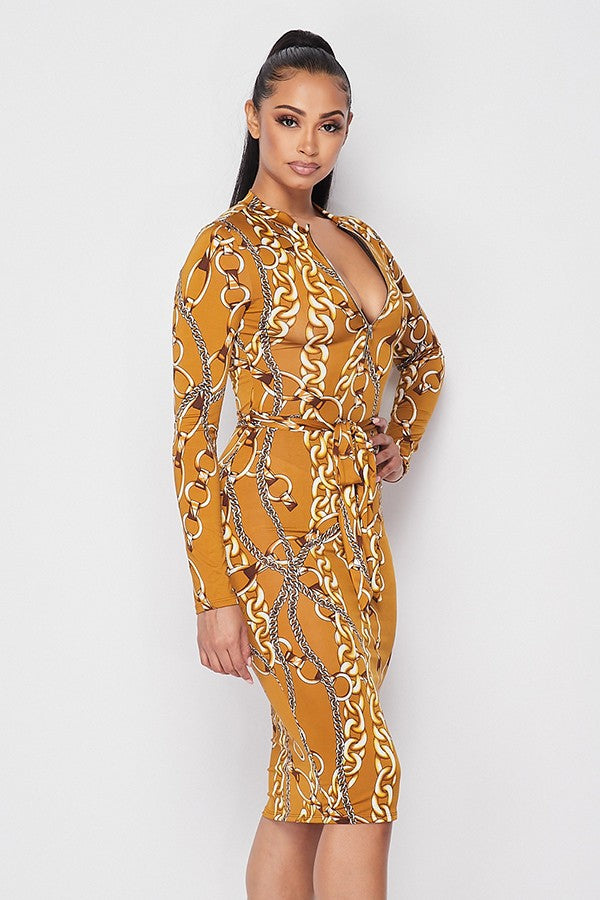 Load image into Gallery viewer, Adore Chain Print Long Sleeve Midi Dress - Gold - Chrestelle