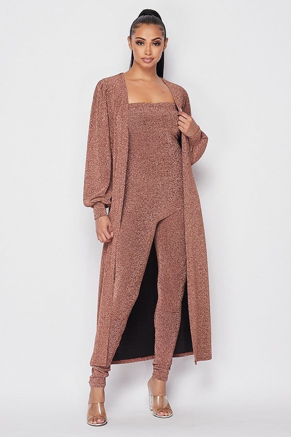 Ellen Jumpsuit and Jacket Set - Rose Gold