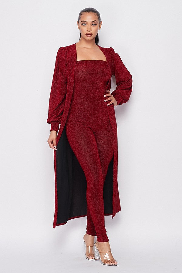 Ellen Jumpsuit and Jacket Set - Burgundy