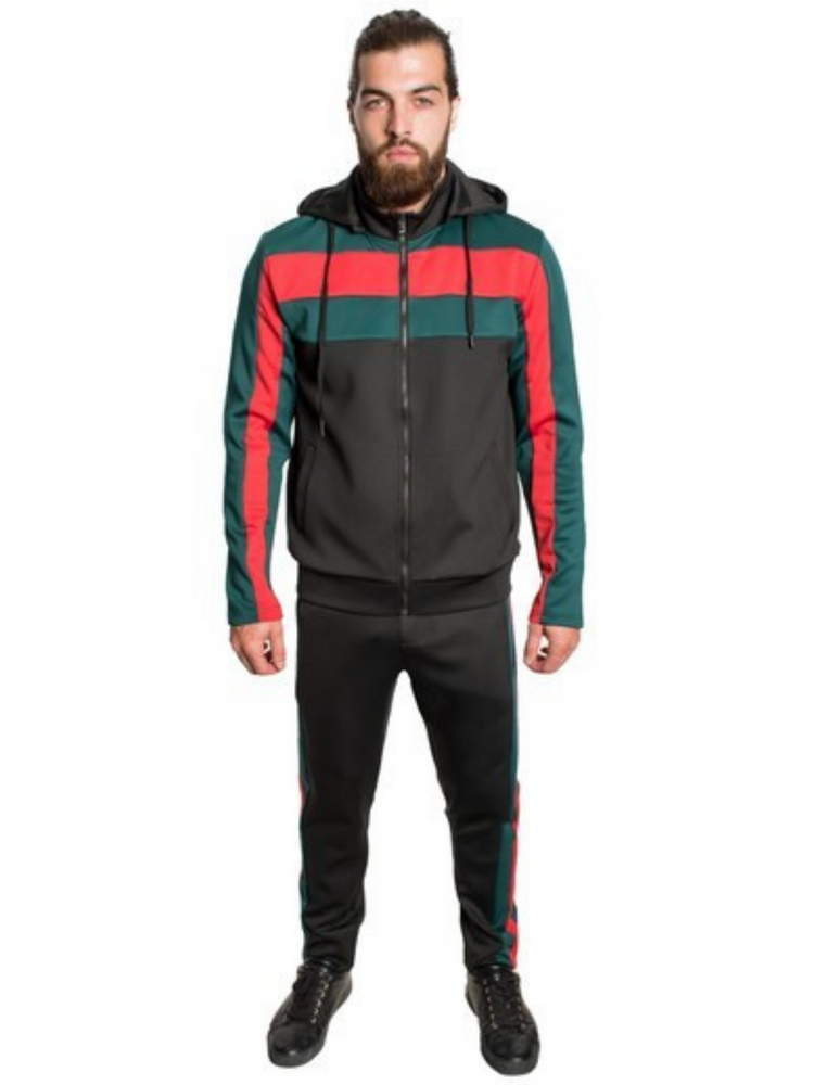 3D Contrast Taped Two-Piece Full-zip Detachable Hoodie - Black Tracksuit