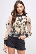 Butterfly Sheer Mesh Top