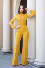 Laura Lace-Top Jumpsuit - Mustard