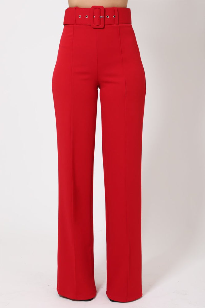 Load image into Gallery viewer, Toria High Waisted Buckle Belt Pants - Red - Chrestelle