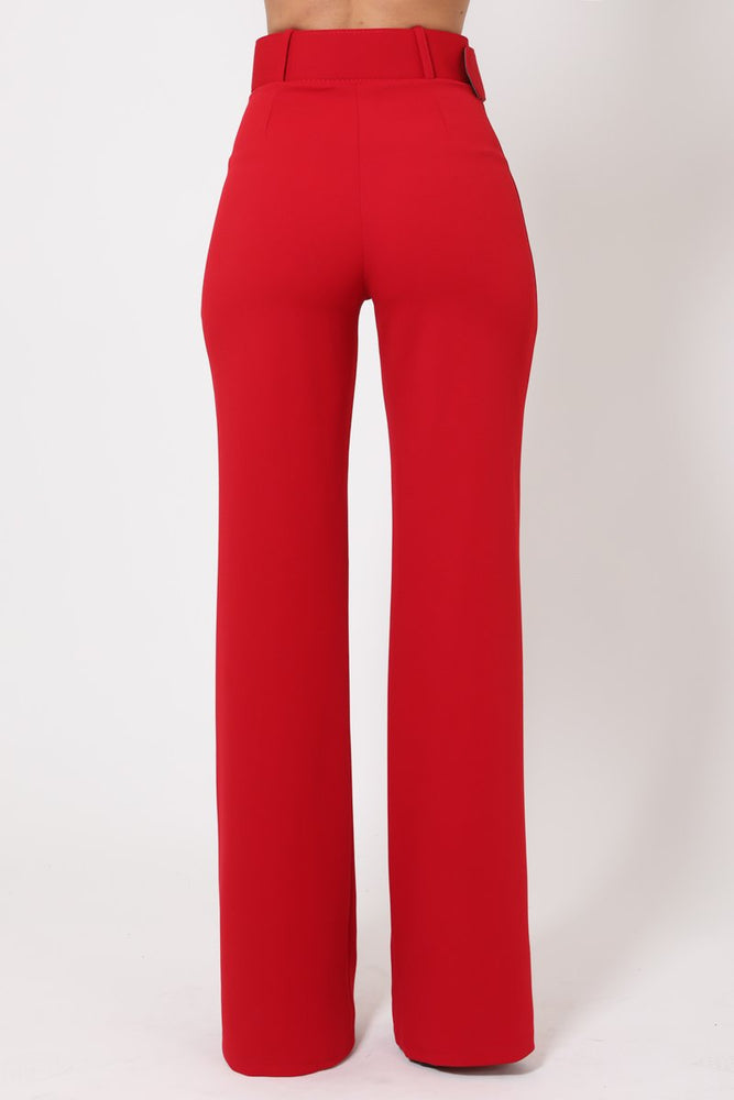 Toria High Waisted Buckle Belt Pants - Red - Chrestelle