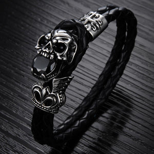Load image into Gallery viewer, Skull Woven Leather Bracelet - Chrestelle