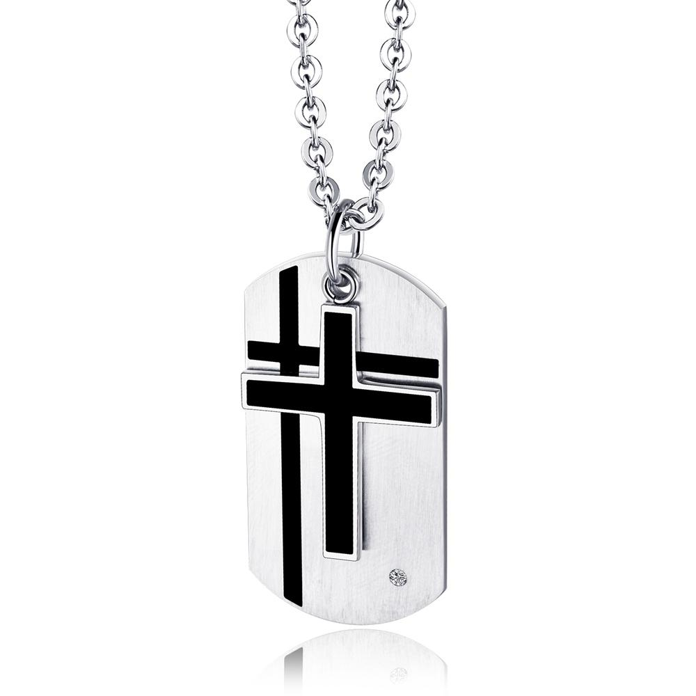 Silver Cross-Card Necklace