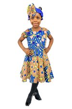 Adana Girls Cold-Shoulder Dress With Headband - Blue