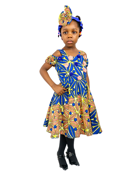 Adana Girls Cold-Shoulder Dress With Headband - Blue - Chrestelle