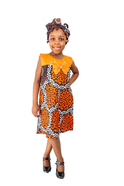 Dunni Girls Dress With Headband - Orange