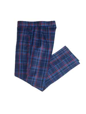 Load image into Gallery viewer, Plaid Textured Tailored Pants - Blue - Chrestelle