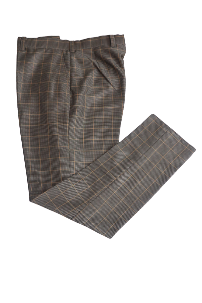 Plaid Textured Tailored Pants - Brown - Chrestelle