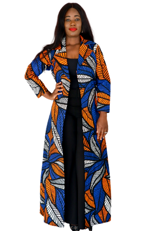 Tesi Long Sleeve Duster - Blue / Orange - Chrestelle