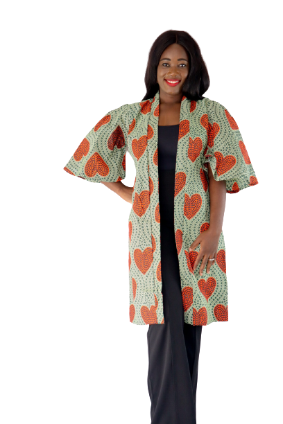Load image into Gallery viewer, Heart Belted Duster - Green / Orange - Chrestelle