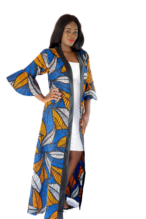 Tesi Rhinestone Belted Long Duster - Blue/Orange - Chrestelle