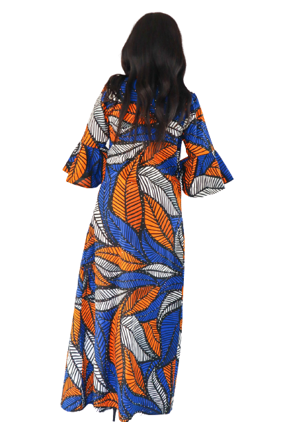 Load image into Gallery viewer, Tesi Rhinestone Belted Long Duster - Blue/Orange - Chrestelle
