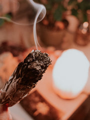 Sage smudging to remove negative energies.