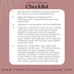 Setting intentions checklist with crystals