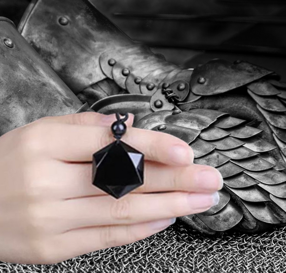 "The ""Hexagon"" Premium Black Obsidian Pendant - The Magic Moon Garden"