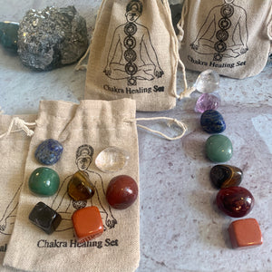 7 PC - 7 Chakra Healing Stone Set - The Magic Moon Garden