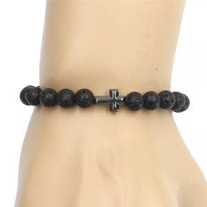 Cross Lava Energy Stone Bracelet diffuser (8MM)