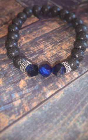 Blue Tiger Eye Diffuser Bracelet (8MM) - The Magic Moon Garden
