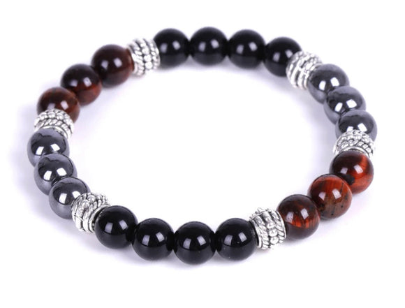 Red Power of 3 Triple Protection Color Block Passion Bracelet (8MM) - The Magic Moon Garden