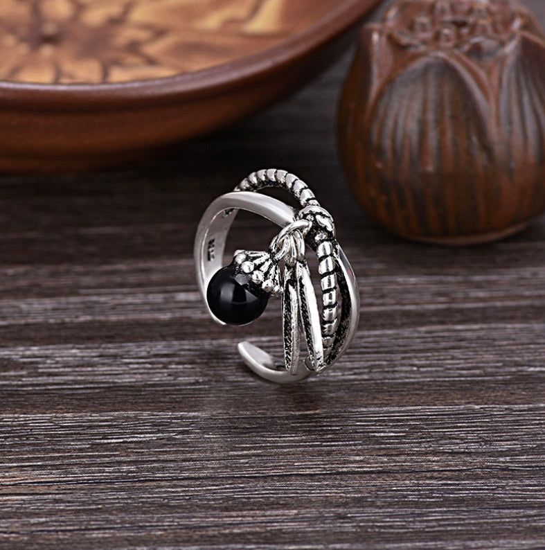The Freedom Ring (Black Agate) - The Magic Moon Garden