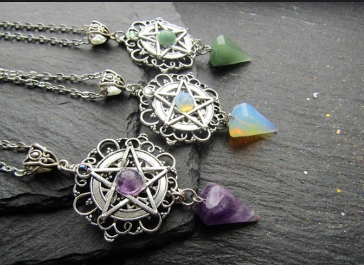 The  Protection Pentagram Crystal Gemstone Point Pendant/Pendulum (Amethyst, Green Aventurine, Opal)