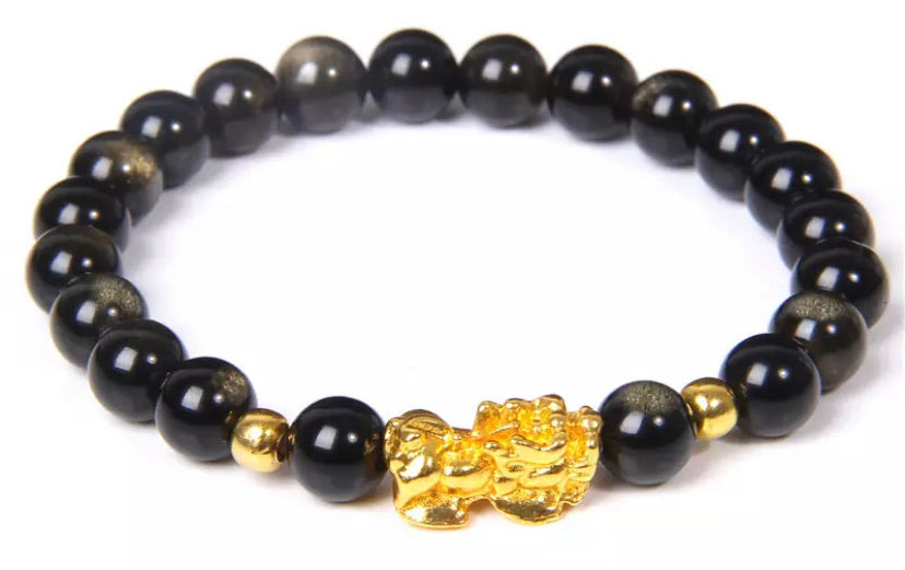 Tigers Eye/Golden Obsidian Pixiu Feng Shui Obsidian Wealth Bracelet (8MM)
