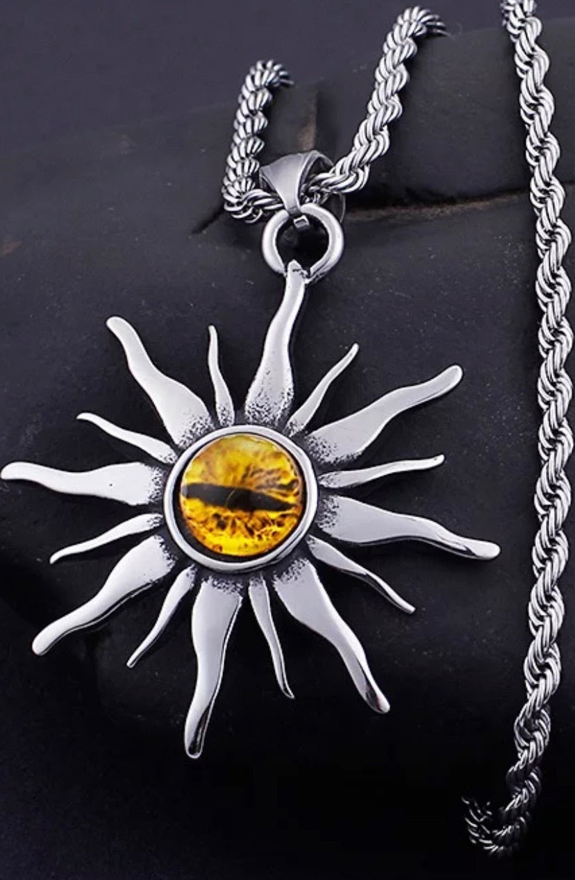 "Tiger Eye ""True Desire"" Sun Pendant Necklace - The Magic Moon Garden"