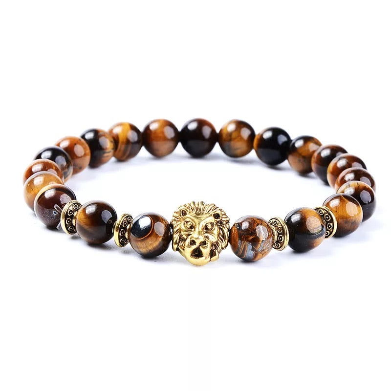 Courageous Tiger Eye with lion bracelet (8MM) - The Magic Moon Garden