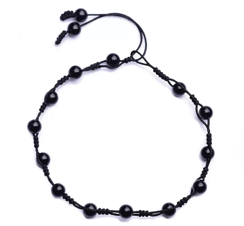 Obsidian Grounding Anklet (Protection • Cleansing • Focus)