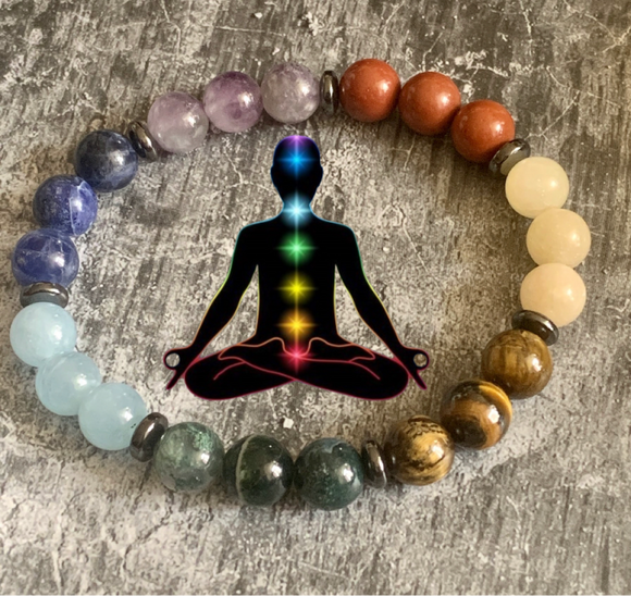 2021 New 7 Chakra Bracelet Reiki Healing Balancing Round Beads (8 MM) - The Magic Moon Garden