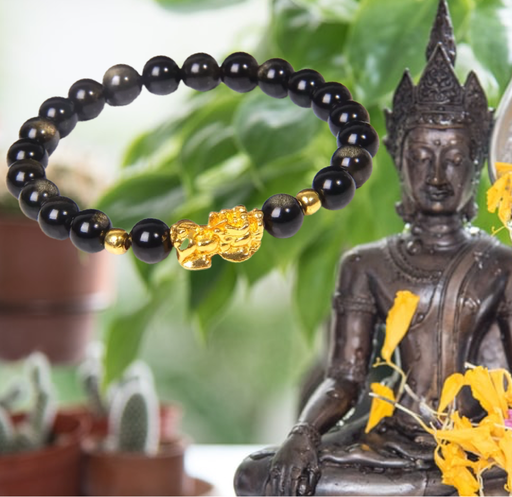 Tigers Eye/Golden Obsidian Pixiu Feng Shui Obsidian Wealth Bracelet (8MM) - The Magic Moon Garden