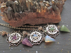 The  Protection Pentagram Crystal Gemstone Point Pendant/Pendulum (Amethyst, Green Aventurine, Opal) - The Magic Moon Garden
