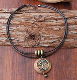 Vintage Wood Tree of Life Spiritual Choker Necklace - The Magic Moon Garden