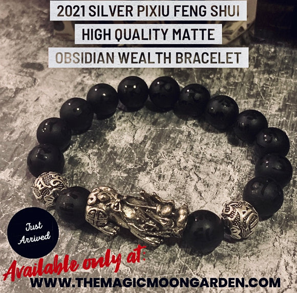 2021 Silver Pixiu Feng Shui High Quality Obsidian Wealth Bracelet (Exclusively Ours) - The Magic Moon Garden