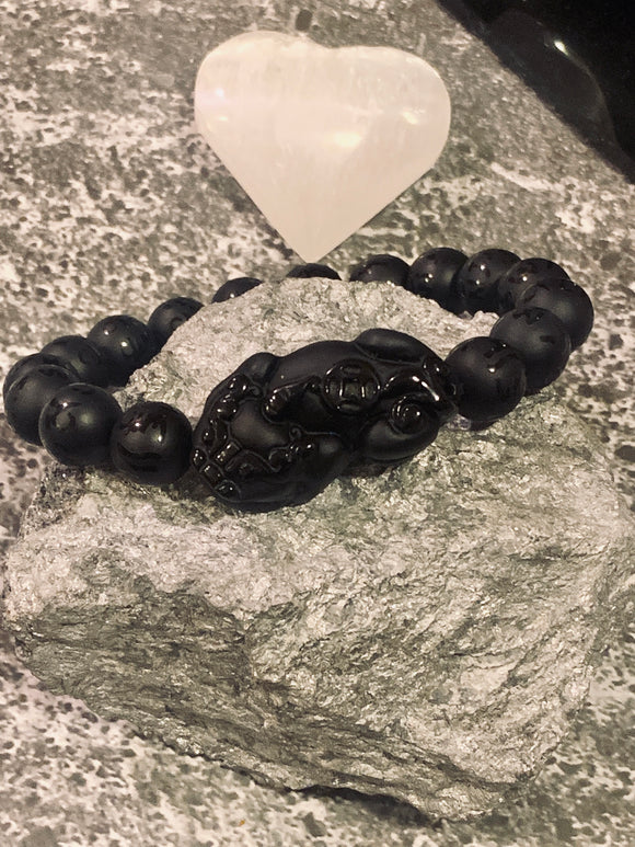 The  Pi Yao (Pixiu) Black Obsidian Protection Bracelet(Mens Bracelet) - The Magic Moon Garden