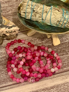 "The 'Soothing"" Bracelet - Pink Striped Agate Bracelet (8 mm) - The Magic Moon Garden"