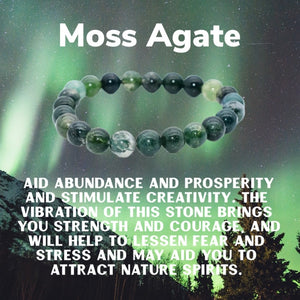 The Prosperity Bracelet (Moss Agate 8MM & 10MM) - The Magic Moon Garden