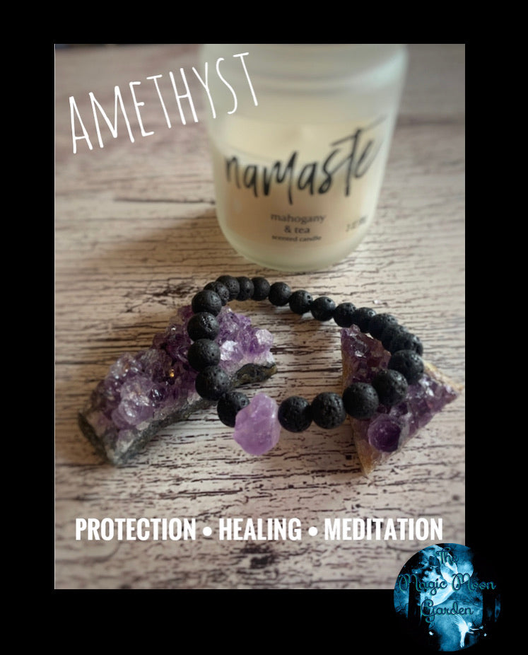 Amethyst Diffuser Healing Bracelet - The Magic Moon Garden