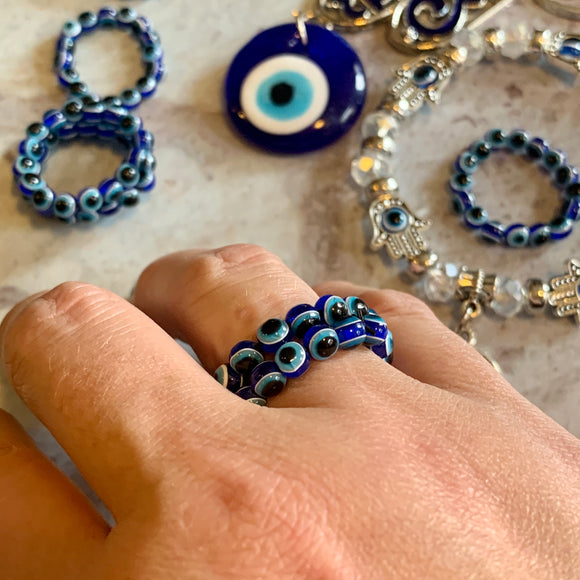 Evil Eye Beaded Rings - The Magic Moon Garden